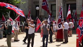 USA: 'F*ck your flag!' Tensions high as Southern nationalists fly Confederate flag in NC