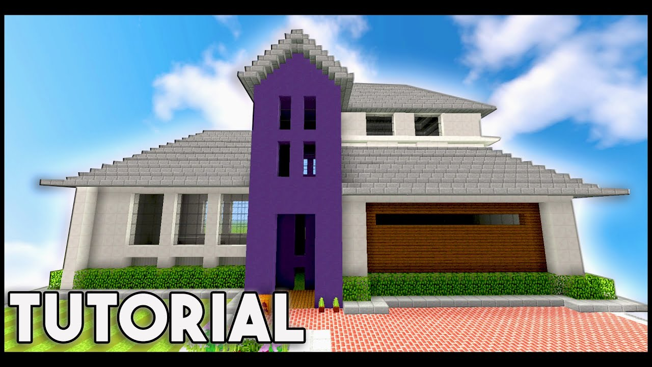 Minecraft big modern house mansion tutorial 1 8 1 9 for Big modern house tutorial