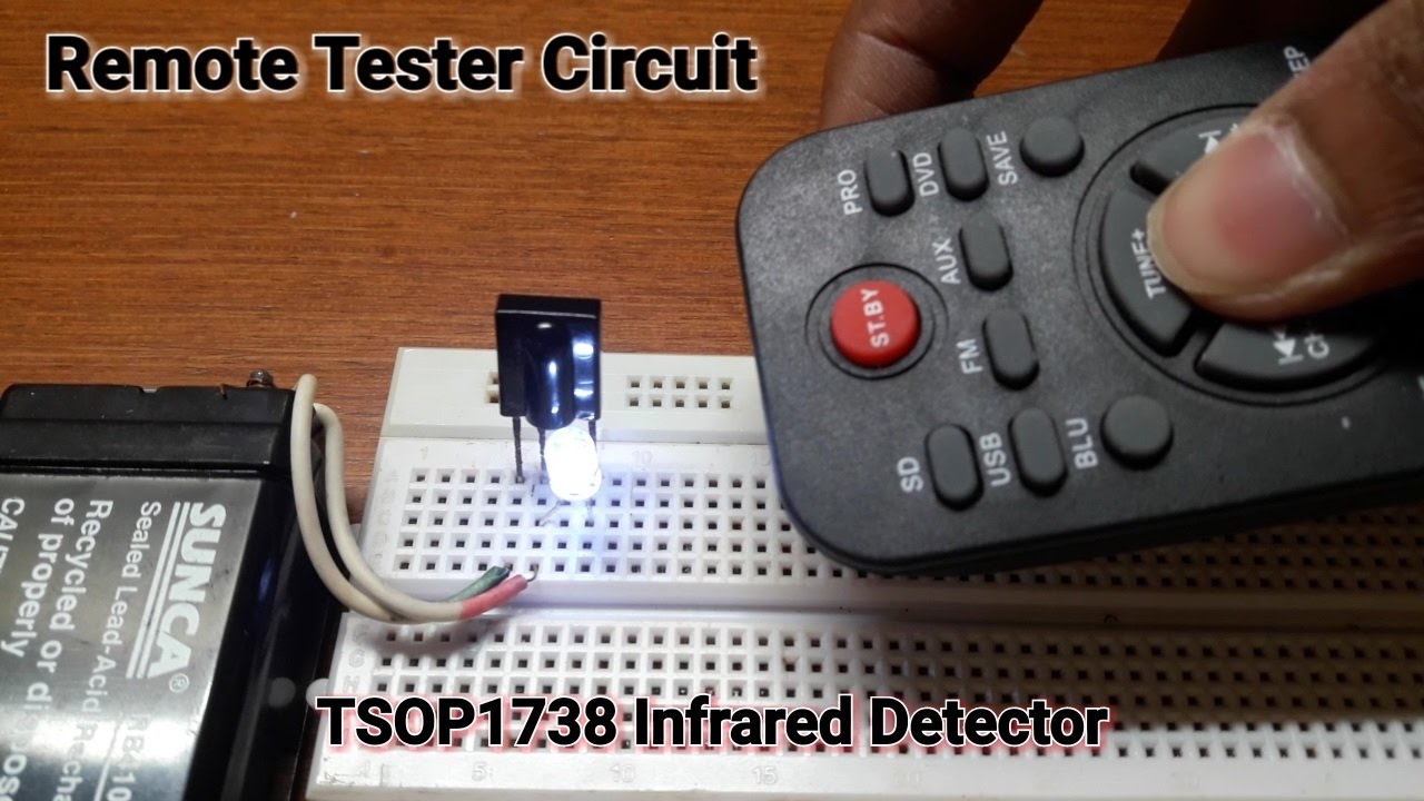 How To Make A Remote Tester Circuit On Breadboard Youtube Infraredtransmittercircuitlabeledonbreadboardjpg
