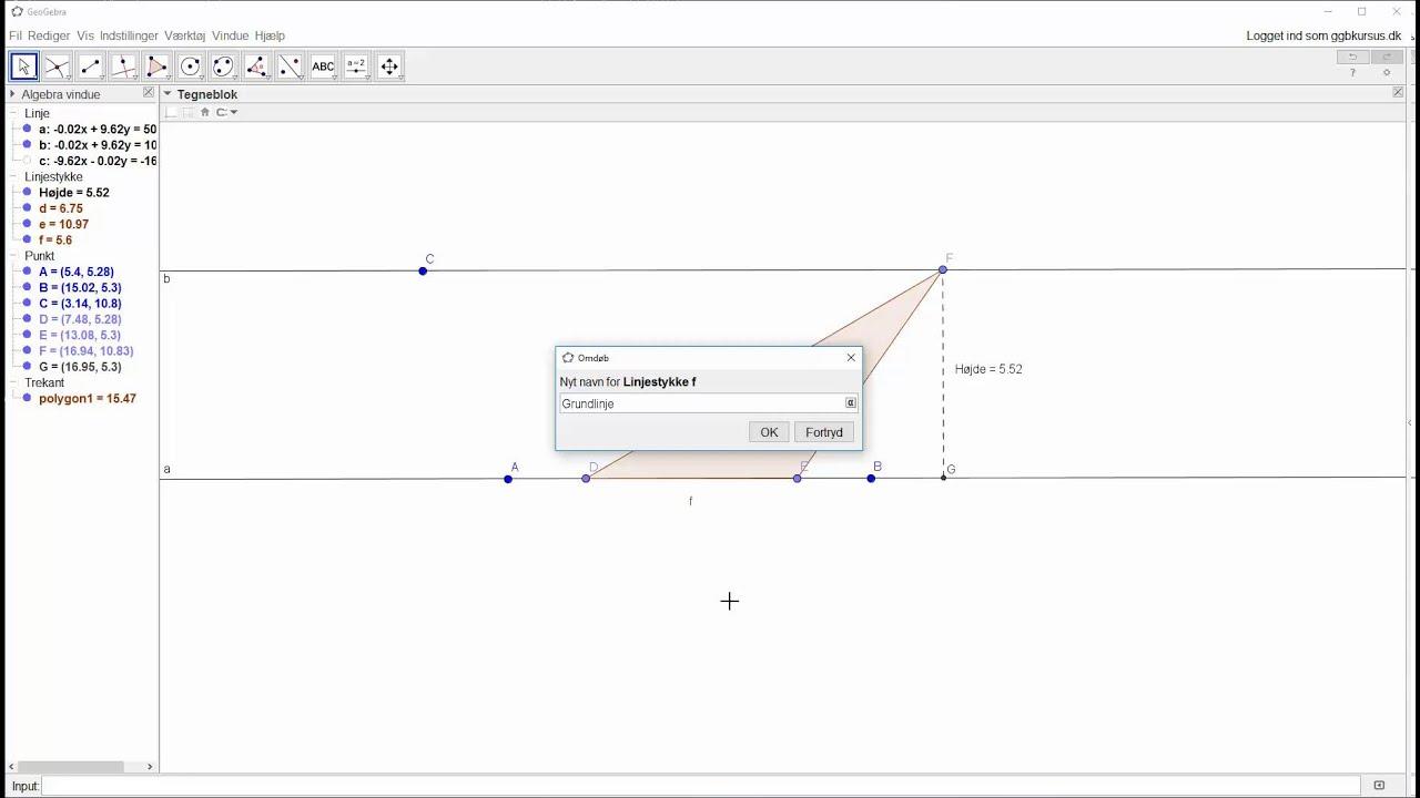 Forhold mellem areal af trekant og rektangel