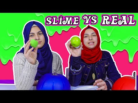 تحدي السلايم ضد الاكل الحقيقي !! شربت بيض ني! 🤮 slime vs real food challenge