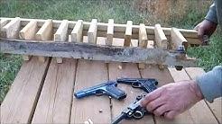 Handgun wood penetration test, .25acp vs .32axp vs .380acp vs 9mm Luger vs .45 Colt