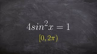 Tutorial - Solving a trigonometric equation by taking the square root of both sides, 4(sinx)^2 = 1