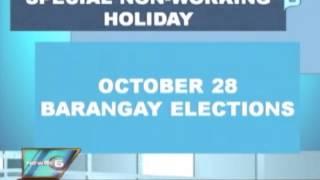 News@6: Oktubre 28, idineklara ni Pangulong Aquino bilang 'special non-working' holiday