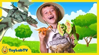 real life dinosaur toy hunt with jurassic world animal planet dino surprise toy opening kids video