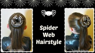 Spider Web Bun Hairstyle For Halloween