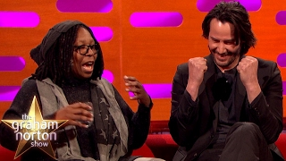 whoopi goldberg freaks out keanu reeves with pubic hair talk   the graham norton show