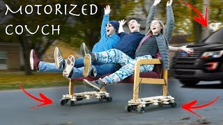 DIY Motorized Couch Can Drift! - SECURITY INVOLVED!!!
