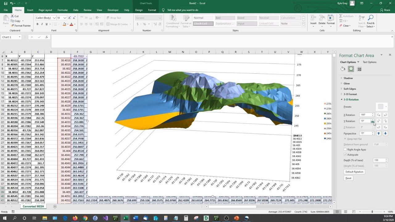 Graph X Y Z Data Inside Microsoft Excel in 20D   20D Scatter, 20D Surface, XYZ  Mesh