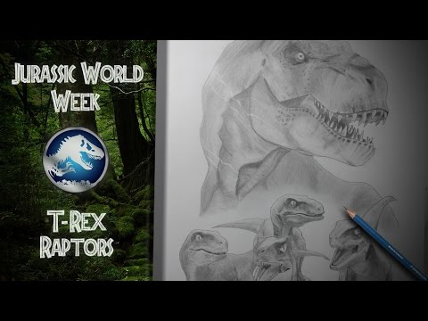 Jurassic World Week #4 - T-Rex & Raptors (realistic pencil speed drawing)