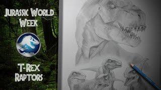 Jurassic World Week #4 - T-Rex & Raptors (realistic pencil speed drawing)