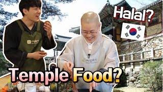 Korean halal Temple Food cooking challenge?! (feat. Monk)