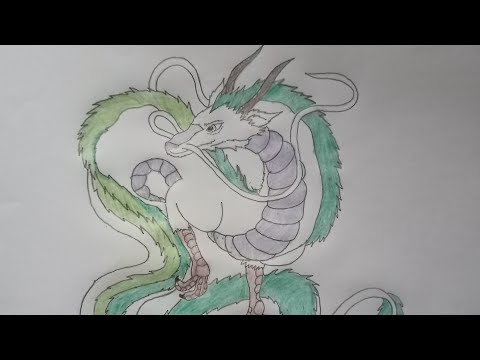 Drawing Haku The Water Spirit Dragon From Spirited Away Movie Using Pencils And Color Pencils Youtube