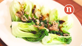 Baby Pak Choi with Oyster Sauce   Chinese Blanched Vegetables [Nyonya Cooking]