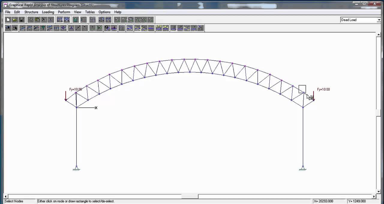 Grash Cad Import Curved Truss Ysis With Gravity Load
