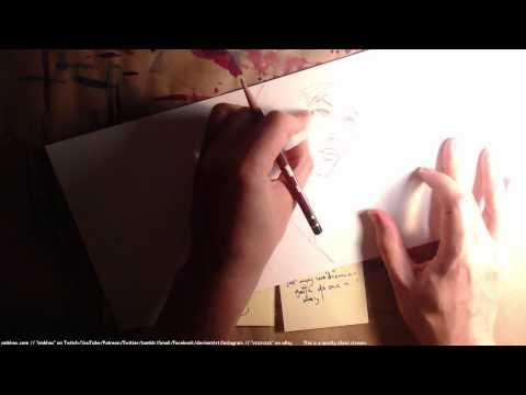 pencil drawing a woman at a computer (A* 26:46)