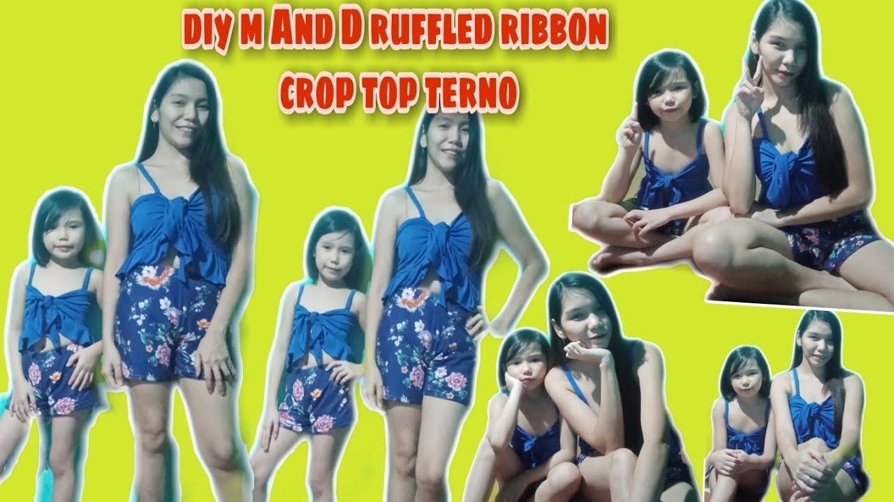 #diy How to diy mother and daughter summer outfit/ swim wear / diy crop top / diy ruffled ribbon top