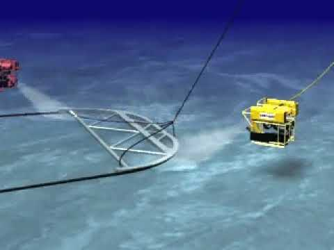 Offshore: cable arc released by rov animation