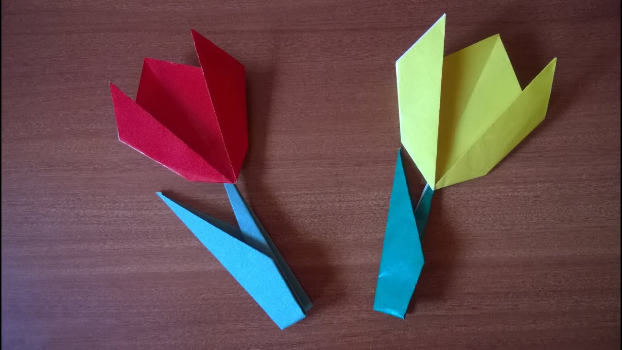 Gorgeous 3d paper tulip flower craft youtube how to make a tulip flower with paper youtube mightylinksfo