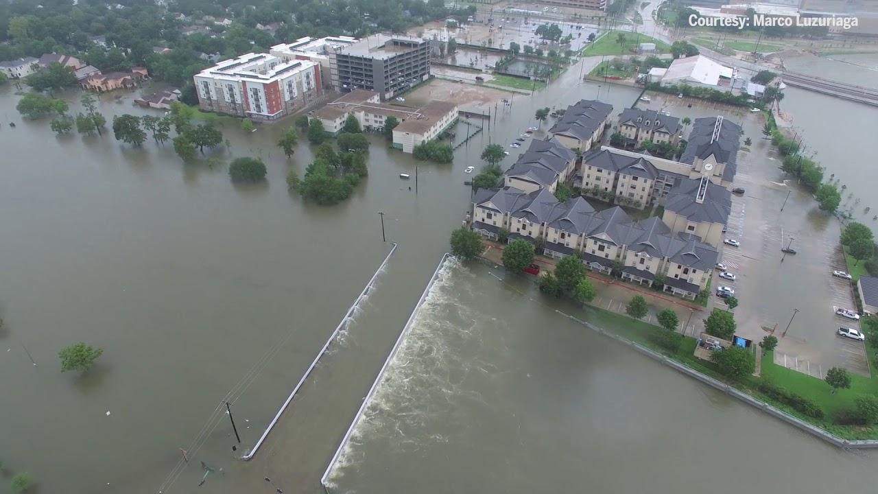 Drone footage shows Hurricane Harvey flooding Brays Bayou, surrounding areas