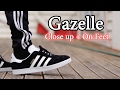 Adidas Gazelle (Black/White) On Feet with Different Pants and Close Up