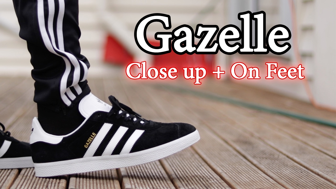 Adidas Gazelle (Black White) On Feet with Different Pants and Close ... ac2d1b6c8