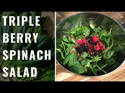 Triple Berry Spinach Salad (WFPB, Vegan)