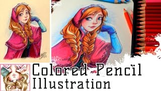 ANNA - Polychromos Colored Pencil Illustration - Disney's Frozen