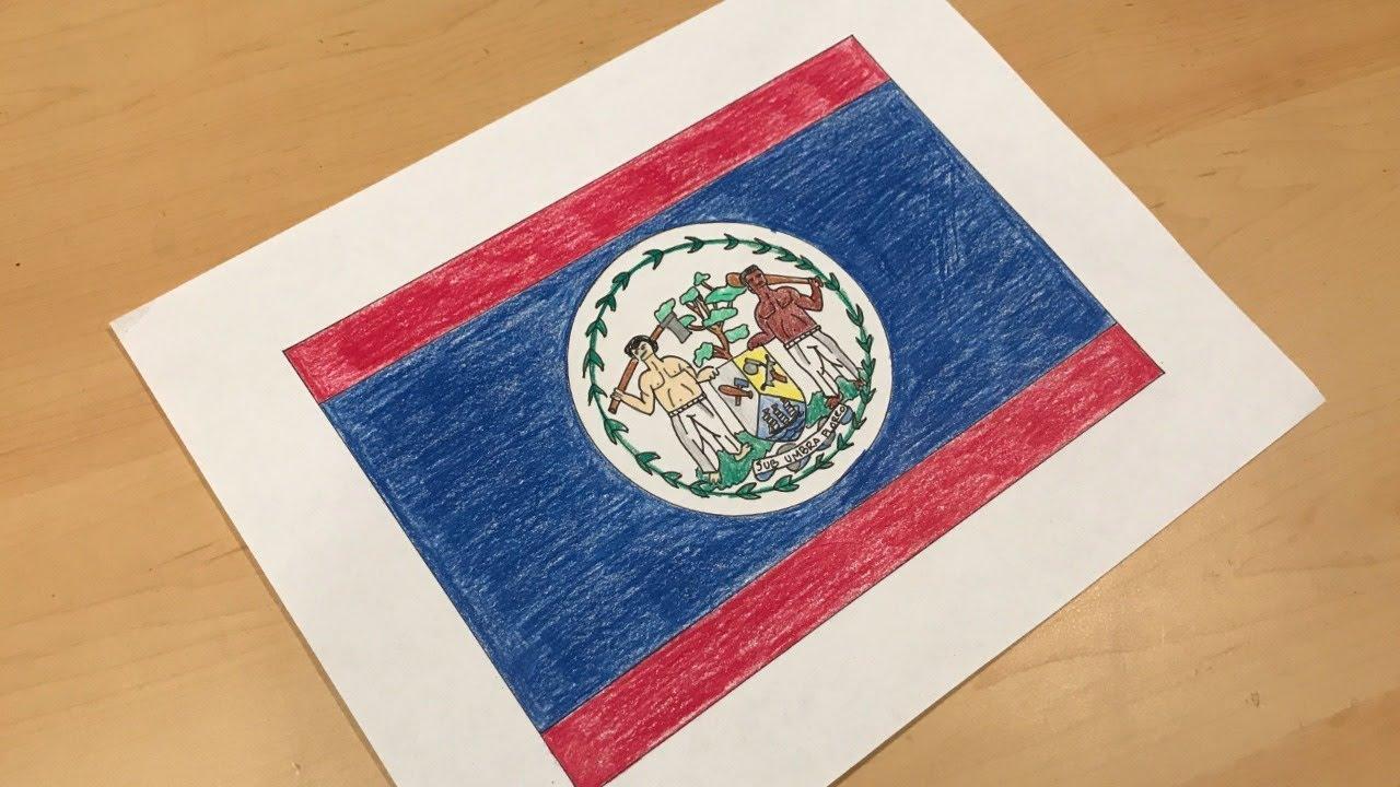 belizean flag drawing youtube