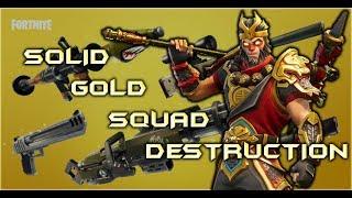 Solid Gold Squad Destruction - Fortnite Battle Royale - Clip #1