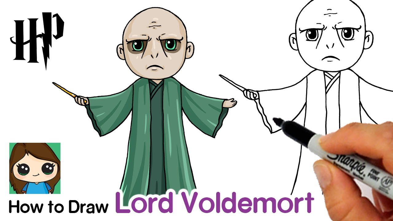 How to Draw Lord Voldemort 🐍 Harry Potter