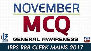 November MCQ   General Awareness   IBPS RRB CLERK MAINS 2017 2017 Video
