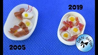 Miniature 1 to 12 - Breakfeast Dish - Bacon Cane