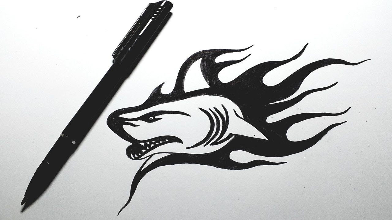 Drawing Shark Tribal Tattoo How To Draw Shark Tattoos By Colorhand