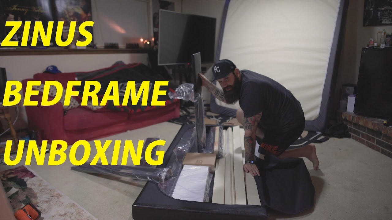 zinus deluxe faux leather bed frame unboxing 4k