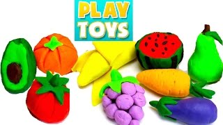 Learn names of fruits and vegetables with Peppa Pig play doh fruit - Hide and Seek game