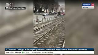В Барнауле в ДТП попал грузовик с газовыми баллонами