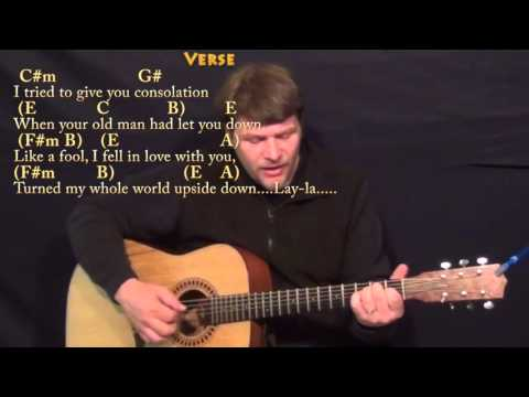 Layla (Clapton-Unplugged) Fingerstyle Guitar Cover Lesson with Chords/Lyrics