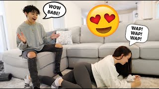 """DOING THE """"WAP"""" DANCE IN FRONT OF MY BOYFRIEND TO SEE HOW HE REACTS! *HILARIOUS*"""