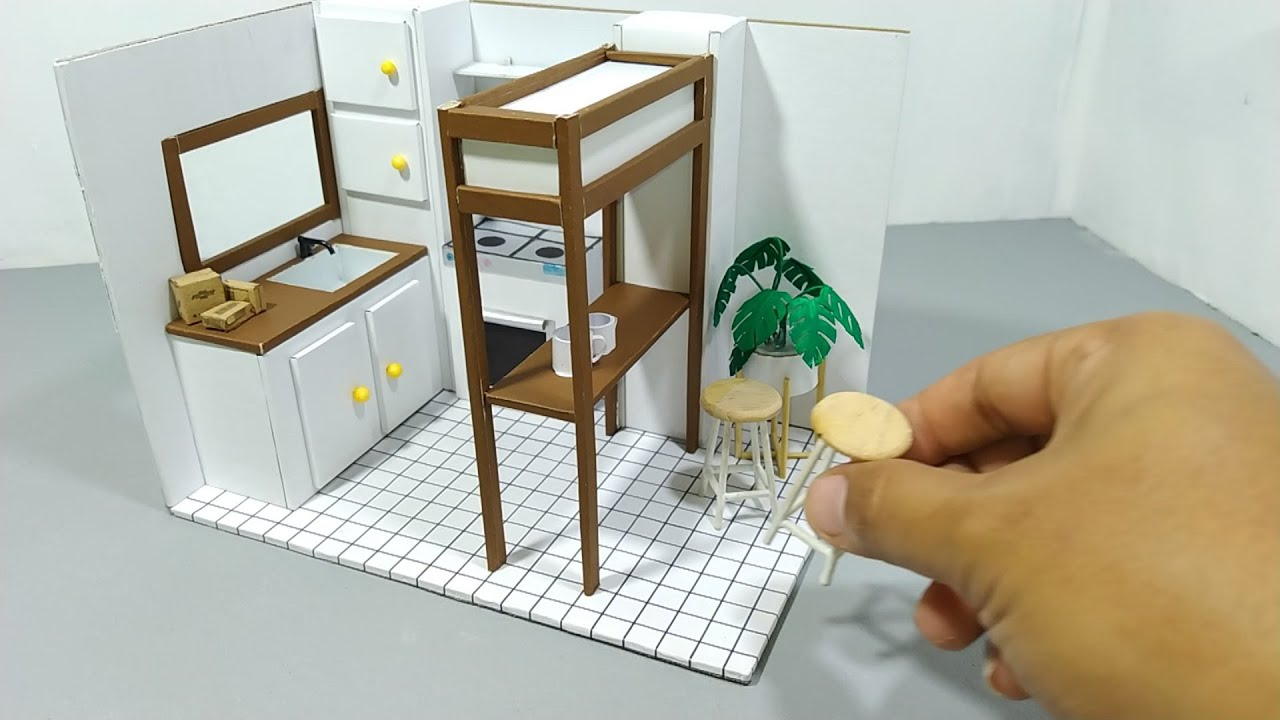 DIY Miniature Cardboard House #1 KITCHEN