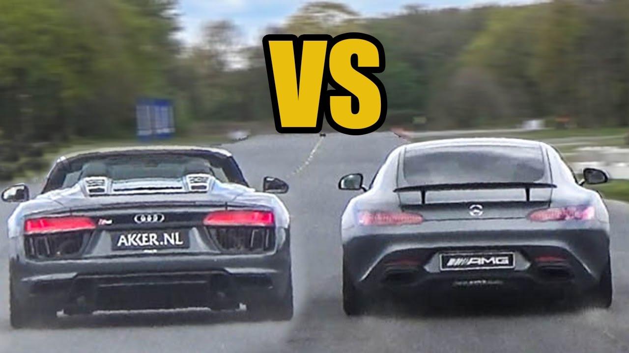 Audi R8 V10 Spyder Vs Mercedes Amg Gts Drag Race Youtube