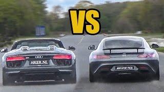 Audi R8 V10 Spyder Vs Mercedes AMG GTS - DRAG RACE!