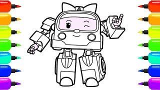 Робокар Поли | Учимся рисовать робовэн Эмбер | Раскраска машинки скорой помощи – Robocar Poli