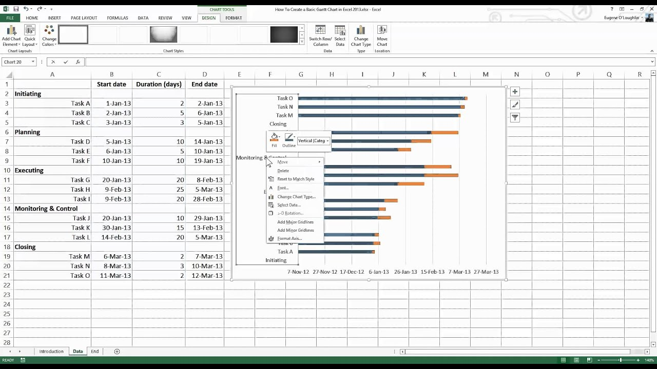c u00e1ch t u1ea1o bi u1ec3u  u0111 u1ed3 gantt chart trong excel 2013