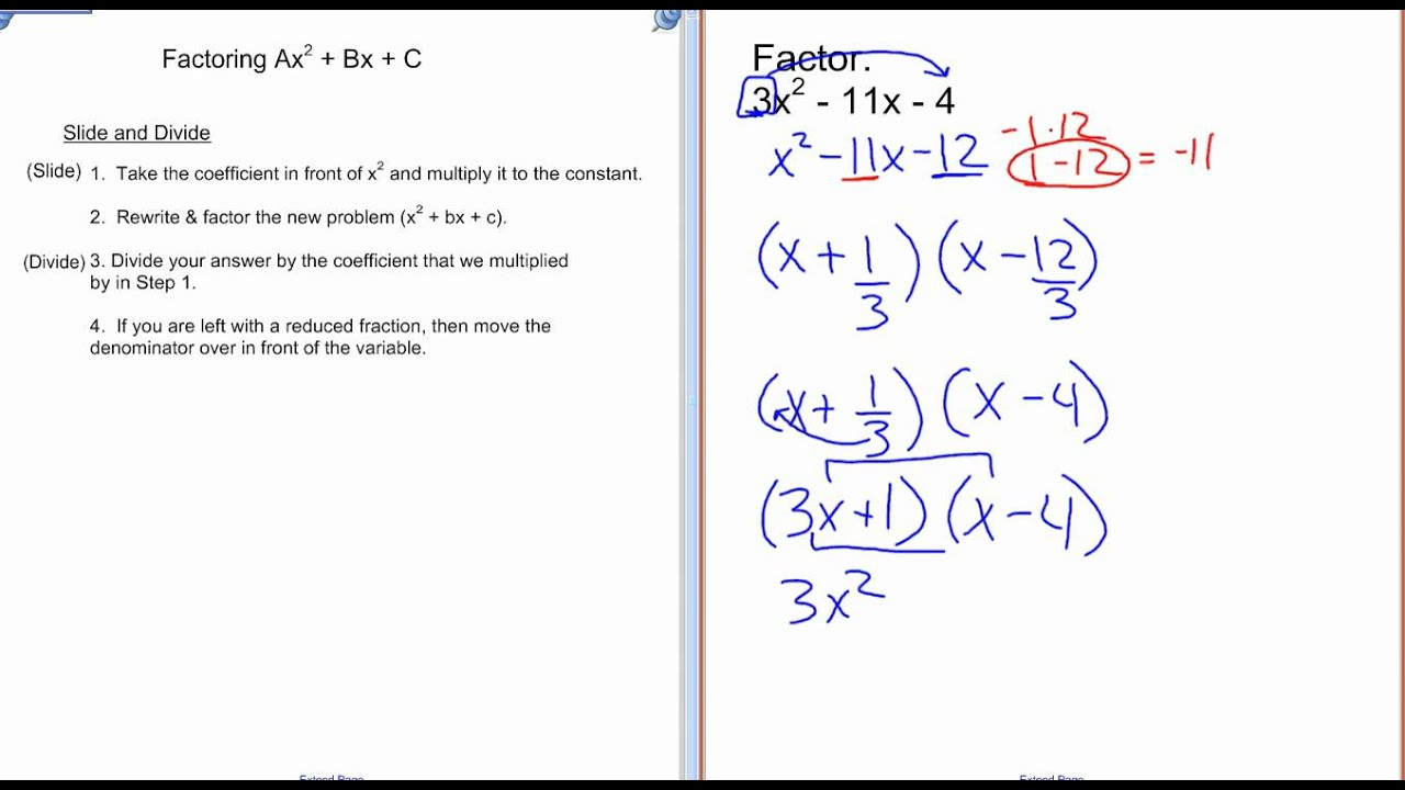 worksheet Factoring X2 Bx C Worksheet factoring ax2bxc lessons tes teach ax2 bx c wmv