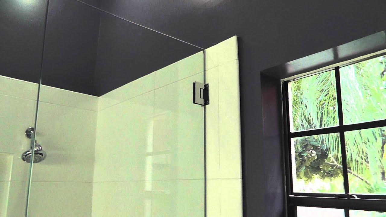 corner shower, frameless shower door - YouTube