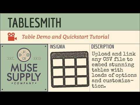 Data table widget for Adobe Muse – Muse Supply Co