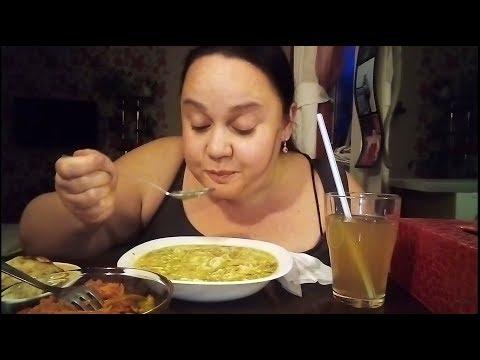 Мукбанг Суп Сок и Салат
