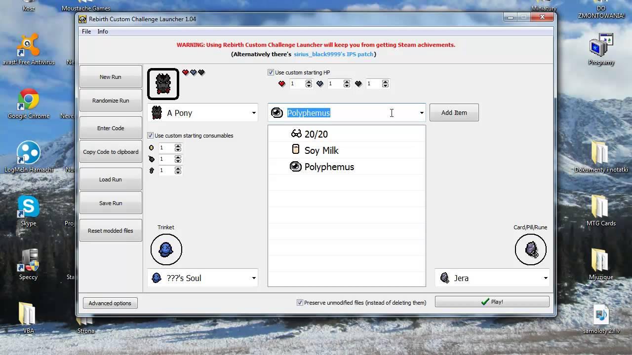 Poradnik afterbirth custom challenge launcher youtube.