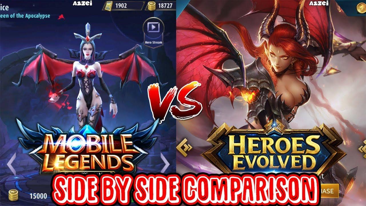 mobile legends vs heroes evolve side by side comparison